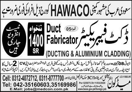 DUCT FABRICATOR (DUCTING & ALUMINIUM CLADDING for Saudi Arab