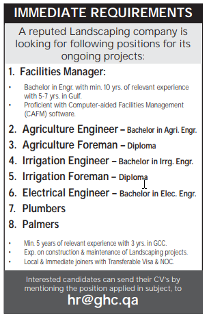 Landscaping company in QATAR is looking for many Vacancies