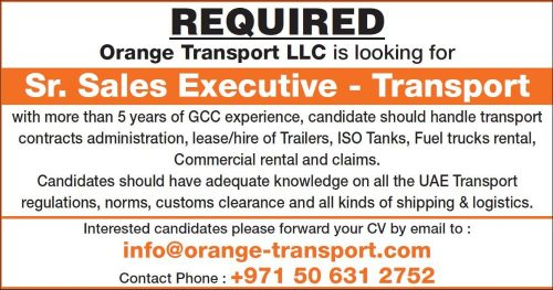 Urgently Required Senior Sales Executive – Transportation in UAE