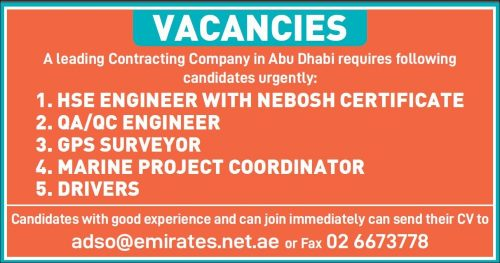 Staff Required For A Leading Contracting Company in Abu Dhabi